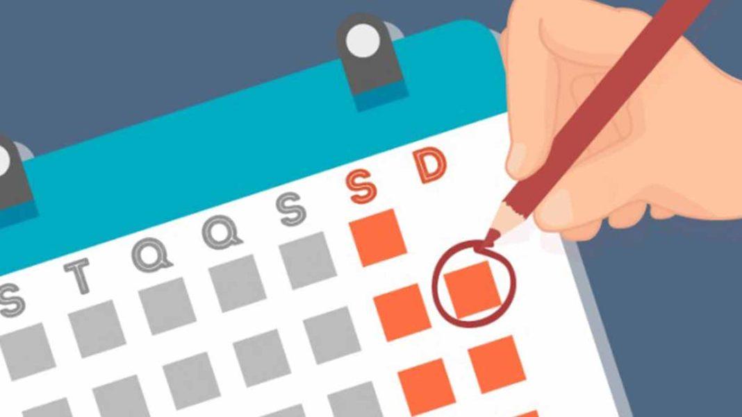 desenho de um calendário grifando folga aos domingos