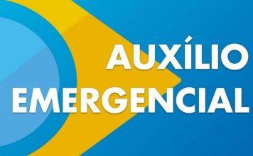 Bandeira do Brasil, porem azul no local do verde, sem a faixa branca e escrito Auxílio Emergencial